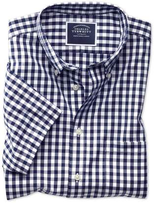 Slim Fit Button-Down Non-Iron Poplin Short Sleeve Navy Gingham Cotton Casual Shirt Single Cuff Size Large by Charles Tyrwhitt