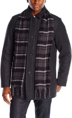 Dockers Washable Wool Blend Walking Coat with Scarf