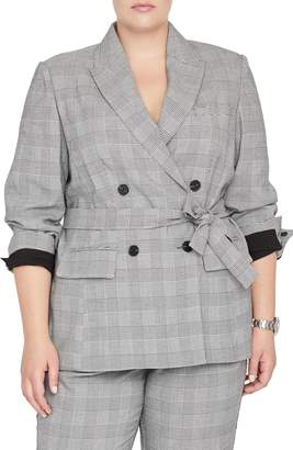 Rachel Roy Collection Windowpane Plaid Tie Front Blazer