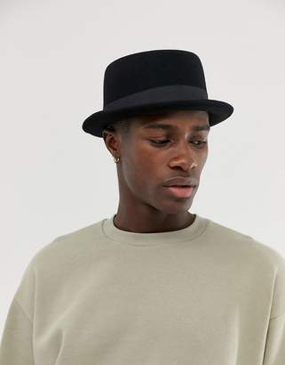 Asos DESIGN pork pie hat in black felt