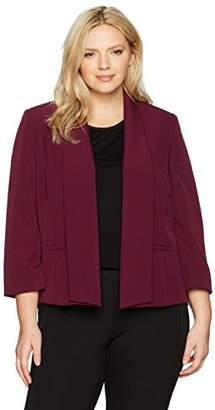 Kasper Women's Plus Size Stretch Crepe Flyaway Jacket