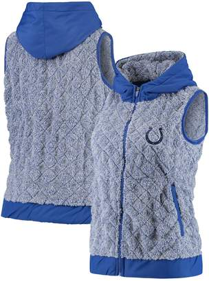 Antigua Women's Heathered Royal Indianapolis Colts Fame Hooded Full-Zip Vest