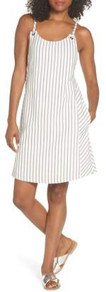 FIRST MONDAY Striped Overall Dress