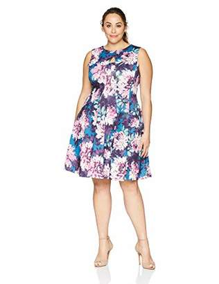 Gabby Skye Women's Plus Size Sleeveless Round Neck Scuba Fit and Flare Dress
