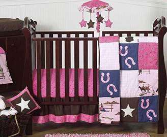 JoJo Designs Sweet Western Horse Cowgirl Pink and Brown Baby Girl Bedding 11pc Crib Set without bumper