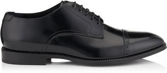 Jimmy Choo PENN Black Shiny Calf Lace Up Shoes with Gunmetal Crystal Welt