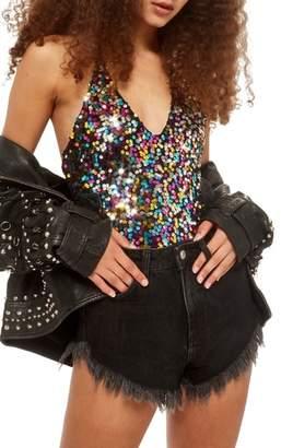 Topshop Rainbow Sequin Bodysuit
