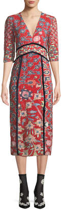 Peter Pilotto V-Neck Elbow-Sleeve Floral-Print Fil Coupe A-Line Midi Dress