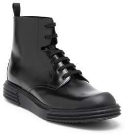 Prada Platform Trek Leather Combat Boots