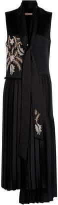 Burberry Bead-embellished Silk Satin Asymmetric Dress