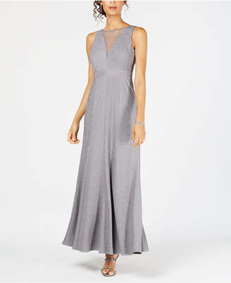 Night Way Nightway Ribbed Metallic-Knit Illusion Gown