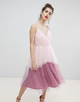 Asos DESIGN premium tulle cami midi color block dress