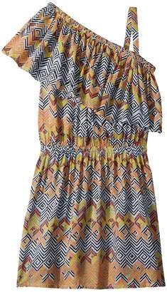 Ella Moss All Over Print One Shoulder Dress Girl's Dress