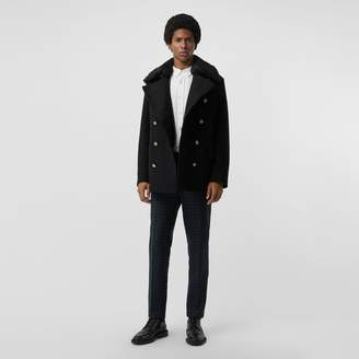 Burberry Detachable Shearling Collar Wool Pea Coat