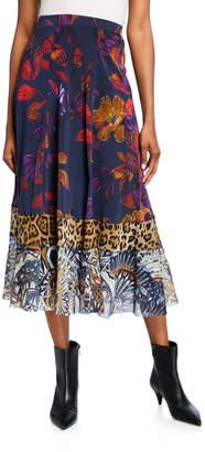 Fuzzi Patchwork A-line Midi Skirt