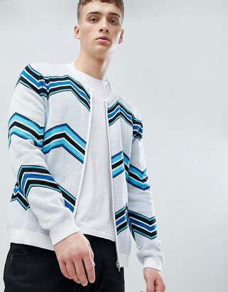 Asos Design Knitted Bomber Jacket With Chevron Stripe