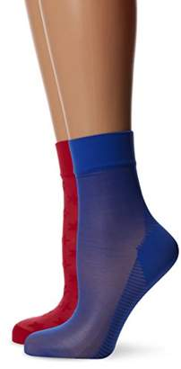 Pretty Polly Women's Sweet Steps - Opaque 60 DEN Tights,Multicoloured (Red/Blue), X-Large