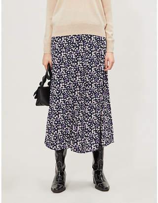LES COYOTES DE PARIS Quinci floral-print crepe midi skirt