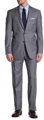 Hart Schaffner Marx Grey Pinstripe Two Button Notch Collar Wool Suit $795 thestylecure.com