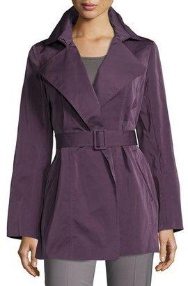 Lafayette 148 New York Hadley Short Trench Coat, Dark Purple $598 thestylecure.com