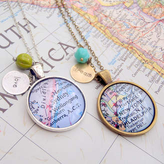 EVY Designs Personalised Location Map Pendant Necklace