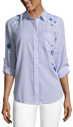 Liz Claiborne Embroidered Button-Front Shirt