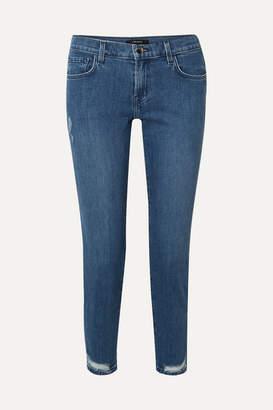 J Brand Sadey Cropped Distressed Mid-rise Slim-leg Jeans - Blue