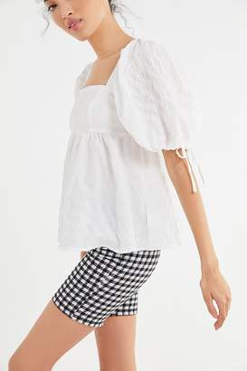 Urban Outfitters Diana Crinkle Puff Sleeve Babydoll Top