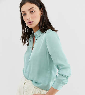 Stradivarius oversized satin shirt in aqua