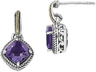 Couture FINE JEWELRY Shey Sterling Silver with 14K Antiqued Amethyst Post Dangle Earring