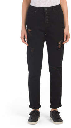 High Waist Destructed Mom Jeans