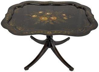 One Kings Lane Vintage Painted Tilt-Top Ebonized Wood Table - Acquisitions Gallerie