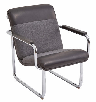 Rejuvenation Modern Chrome Lounge Chair in Leather & Wool