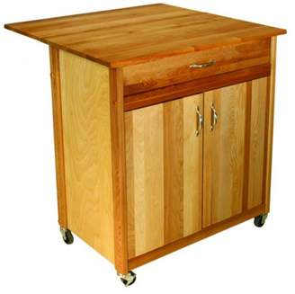 Catskill Craft Mid-Size Two Door Cart With Drop Leaf, Yellow Birch