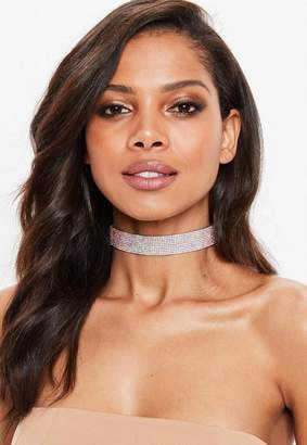 Missguided Silver Rhinestone Choker Necklace