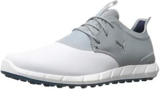 Puma Men's Ignite Spikeless Pro Golf Shoe, White/Quarry Silver