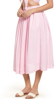 Women's J.o.a. Gingham Midi Skirt $95 thestylecure.com
