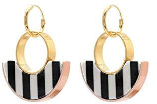Wouters & Hendrix Women's Gold Plated Sterling Silver Half Moon Black and White Striped Resin Drop Earrings