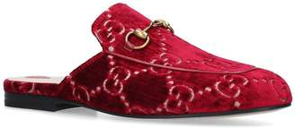 Gucci Velvet Princetown GG Slippers