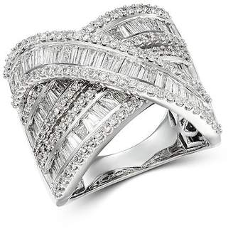 Bloomingdale's Diamond Baguette & Round Statement Crossover Ring in 14K White Gold, 3.0 ct. t.w.