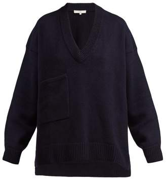 Tibi Patch Pocket Cashmere Sweater - Womens - Navy