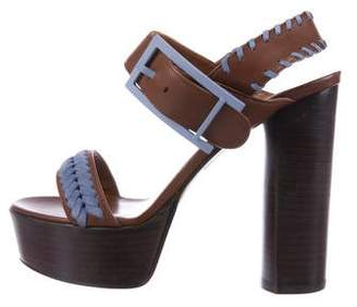 Aquatalia Leather Ankle Strap Sandals