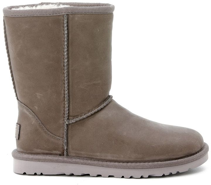 UGG Ugg Classic Short Boots In Grey Stressed Leather