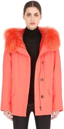 Yves Salomon Army By Cotton Parka With Lapin Fur Lining