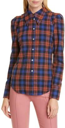 Smythe Puff Sleeve Plaid Flannel Shirt