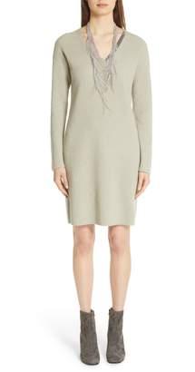 Fabiana Filippi Bead Detail Wool, Silk & Cashmere Sweater Dress