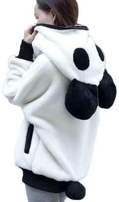 Luckylin Fashion Women's Cute Bear Ear Panda Winter Warm Hoodie Coat Hooded Jacket Outerwear (L)