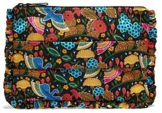 La Doublej - Floral Print Ruffle Trimmed Pouch - Womens - Multi