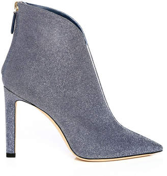 Jimmy Choo BOWIE 100 Stone Blue Fine Glitter Fabric Pointed Toe Booties with Plexi Insert