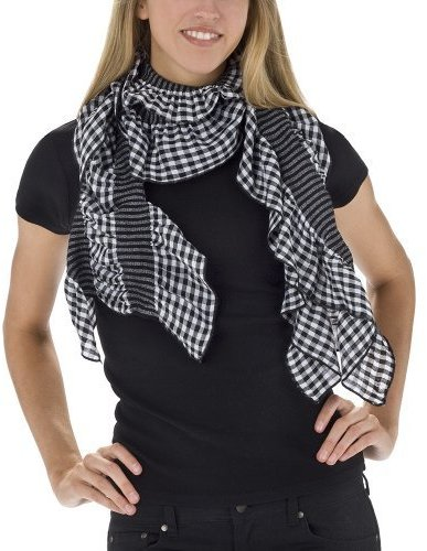 Gingham Rouched Ruffle Scarf - Black
